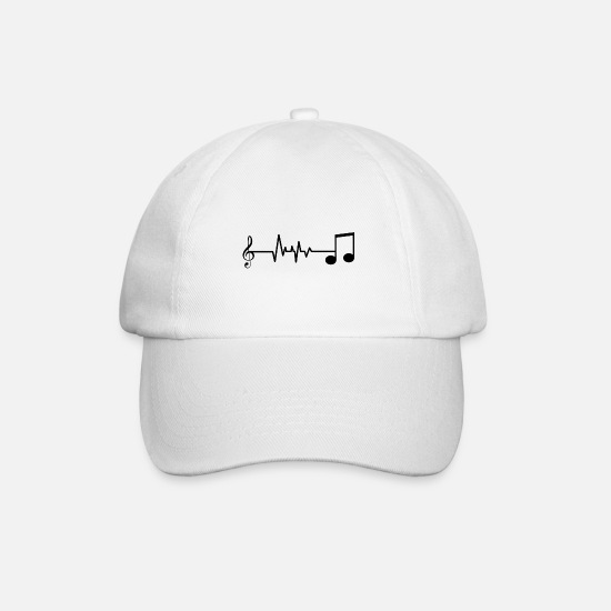 Music Note Caps & Hats - Heartbeat heartbeat music notes gift - Baseball Cap white/white