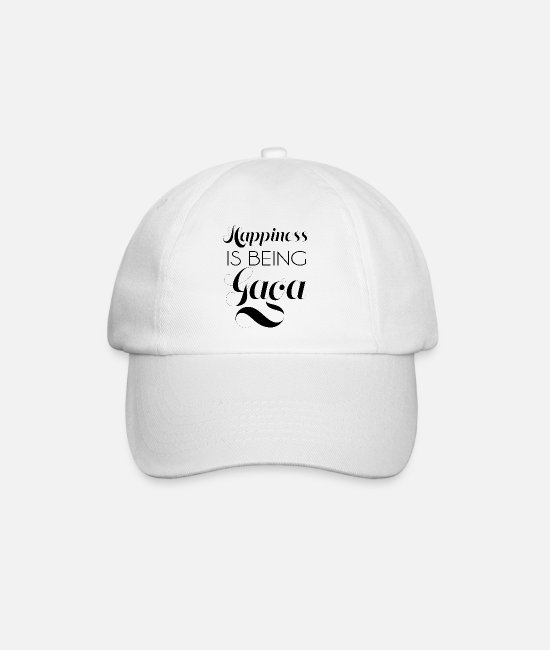 Typography Caps & Hats - happiness is being gaga - Baseball Cap white/white