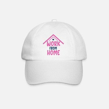 Pink Work From Home Social Distancing Slogan - Baseball Cap