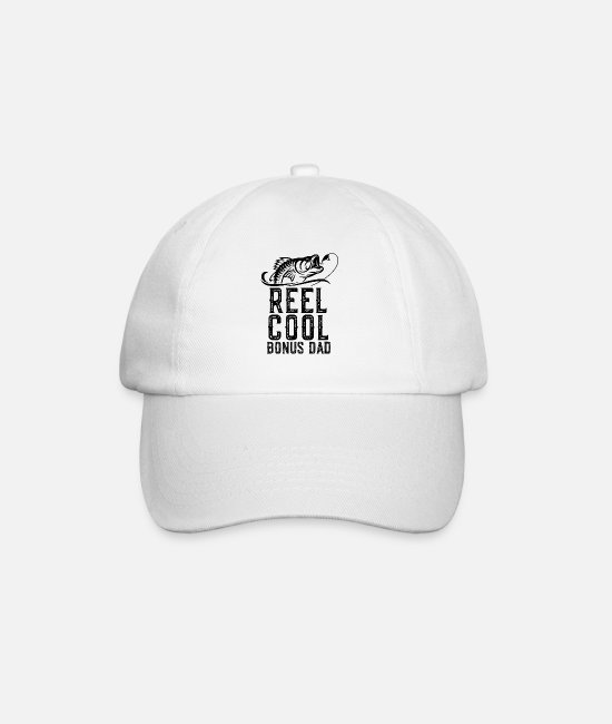 Father's Day Caps & Hats - Reel Cool Bonus Dad Fishing Gift Funny T Shirt - Baseball Cap white/white