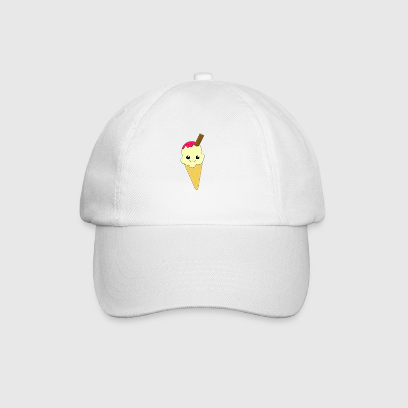 Cute Kawaii Ice Cream Cone with Sauce and Chocolate Flake - Baseball Cap