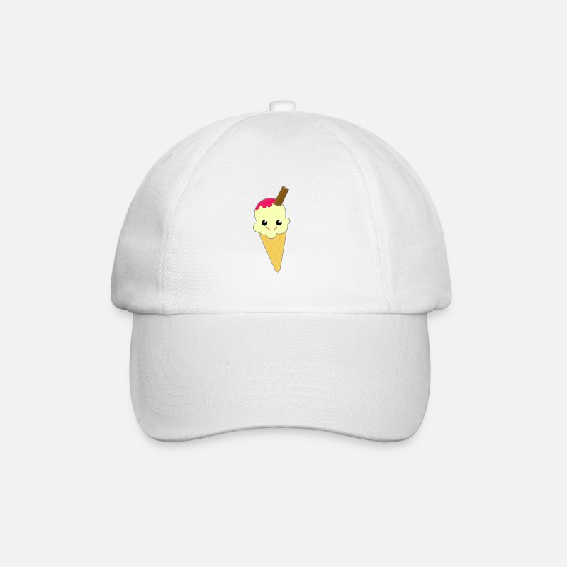 Animal Caps & Hats - Cute Kawaii Ice Cream Cone with Sauce and Chocolate Flake - Baseball Cap white/white