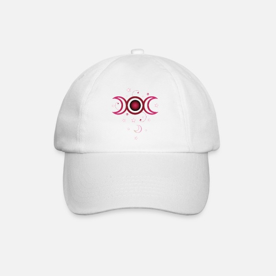 Symbol  Caps & Hats - Triple moon with stars, pink. - Baseball Cap white/white