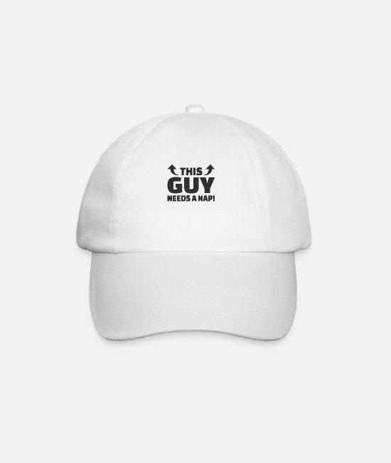 Lazy Caps & Hats - This Guy Needs A Nap Nap Sleeping Tired - Baseball Cap white/white