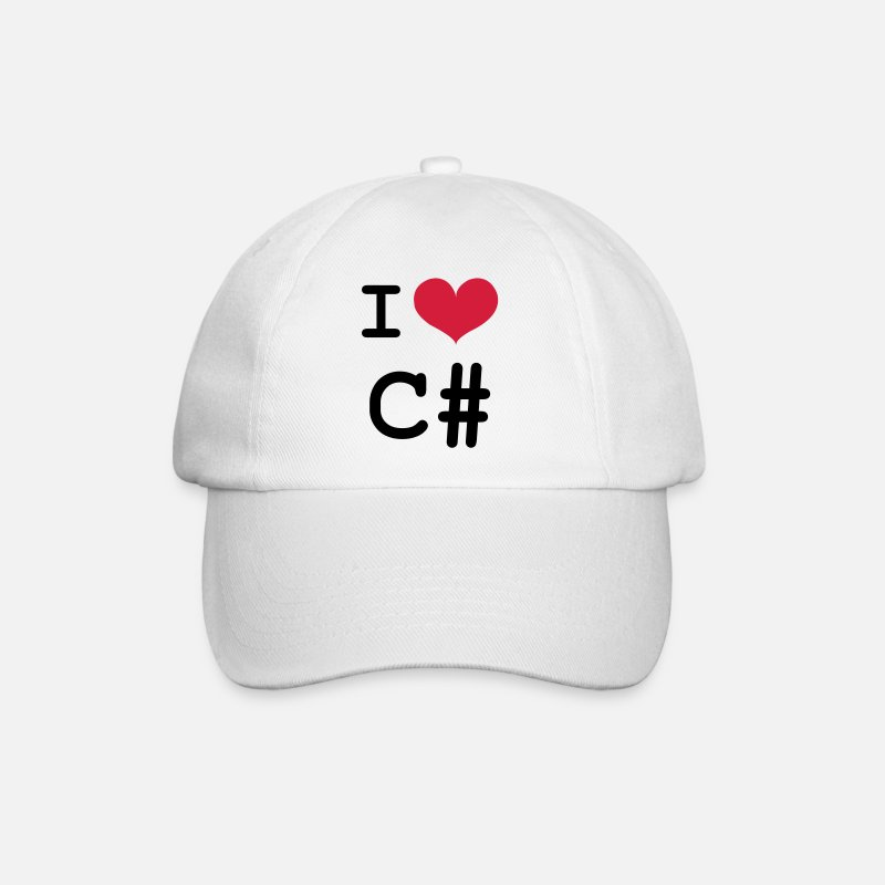 Birthday Caps & Hats - I Love C# [Developer / Geek] - Baseball Cap white/white