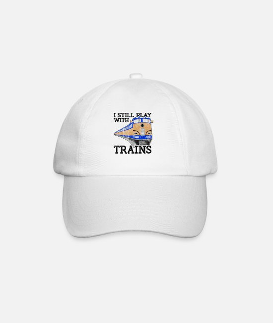 Training Caps & Hats - Train Lover Gift Railroad Gift Still Play with - Baseball Cap white/white