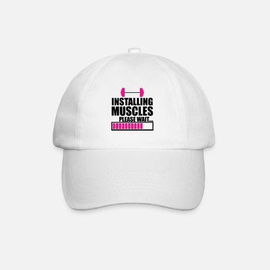 Computer Caps & Hats - INSTALLING MUSCLES - Baseball Cap white/white