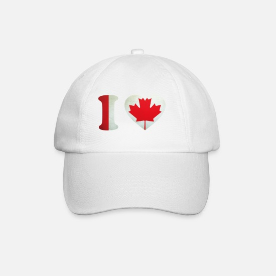 Canada Caps & Hats - Canada I Love Flag - Baseball Cap white/white