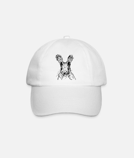 Nature Caps & Hats - squirrel drawing - Baseball Cap white/white