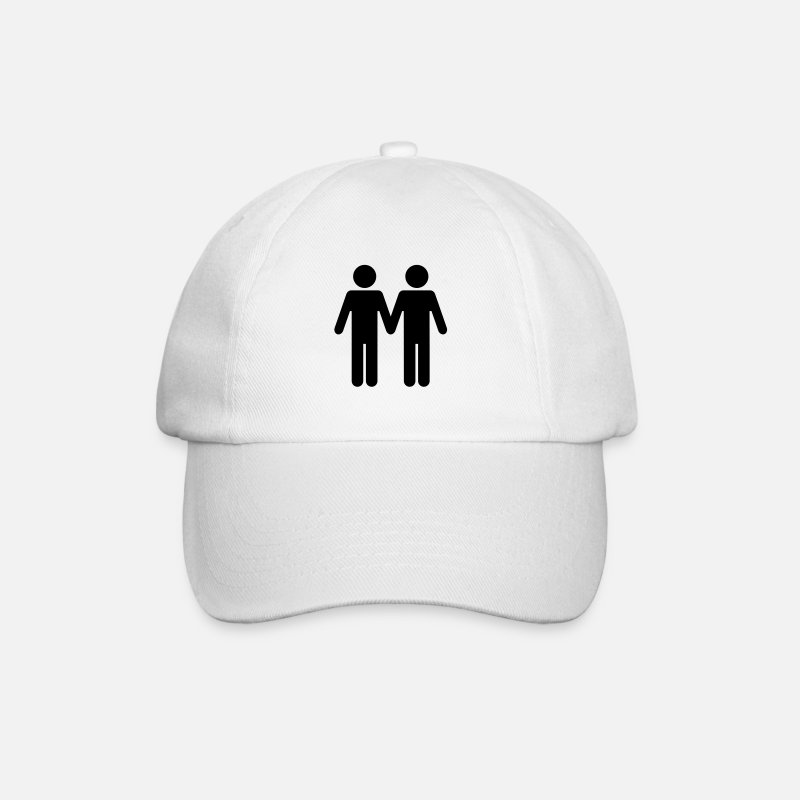 Gay Marriage Caps & Hats - Gay Men WC Style - Baseball Cap white/white
