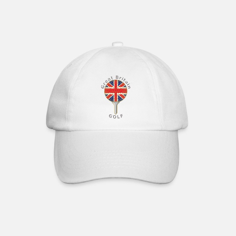 Union Jack Caps & Hats - great britain union jack golf logo - Baseball Cap white/white