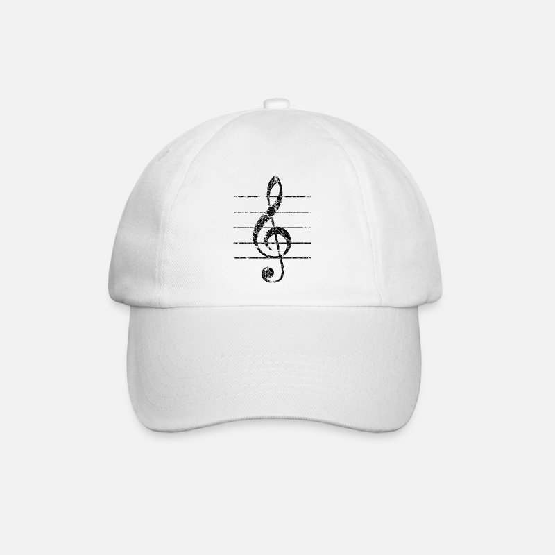 Musical Instrument Caps & Hats - Violin key, musical key - Baseball Cap white/white