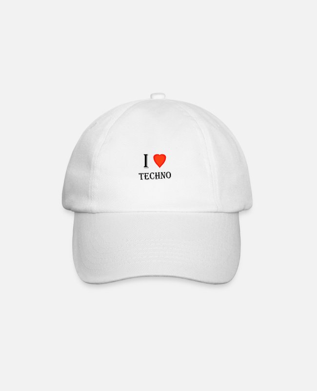 Techno Music Caps & Hats - I love techno - Baseball Cap white/white