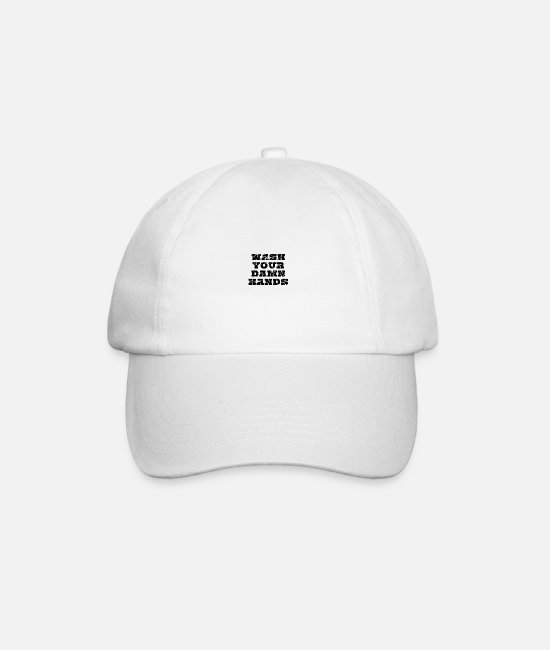 Epidemic Caps & Hats - Wash your damn hands - Baseball Cap white/white