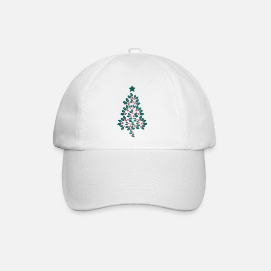 Christmas Caps & Hats - Holly Christmas Tree - Baseball Cap white/white