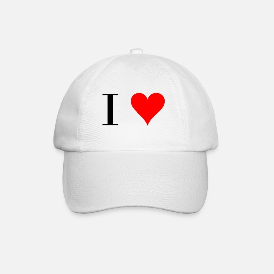 Heart Caps & Hats - I Heart / I Love - Baseball Cap white/white