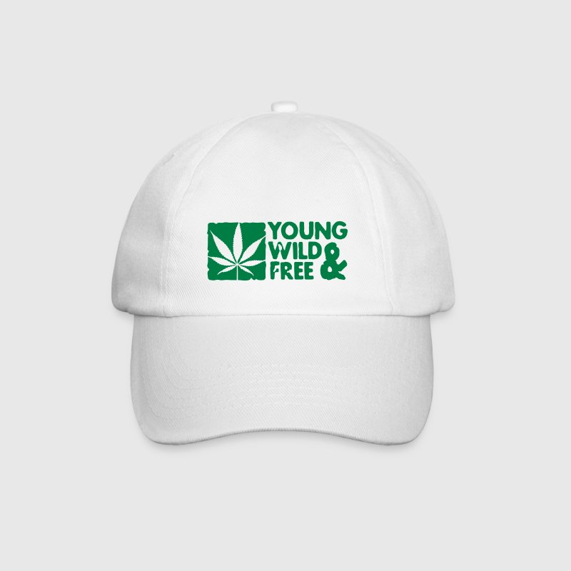 young wild and free weed leaf boxed - Baseball Cap