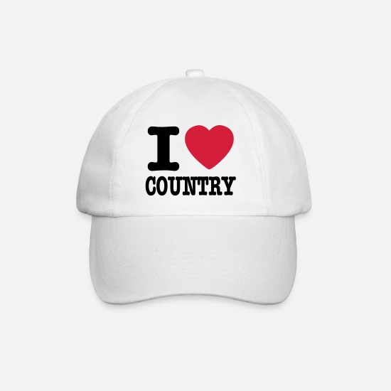 Country Caps & Mützen - i love country / i heart country - Baseball Cap Weiß/Weiß