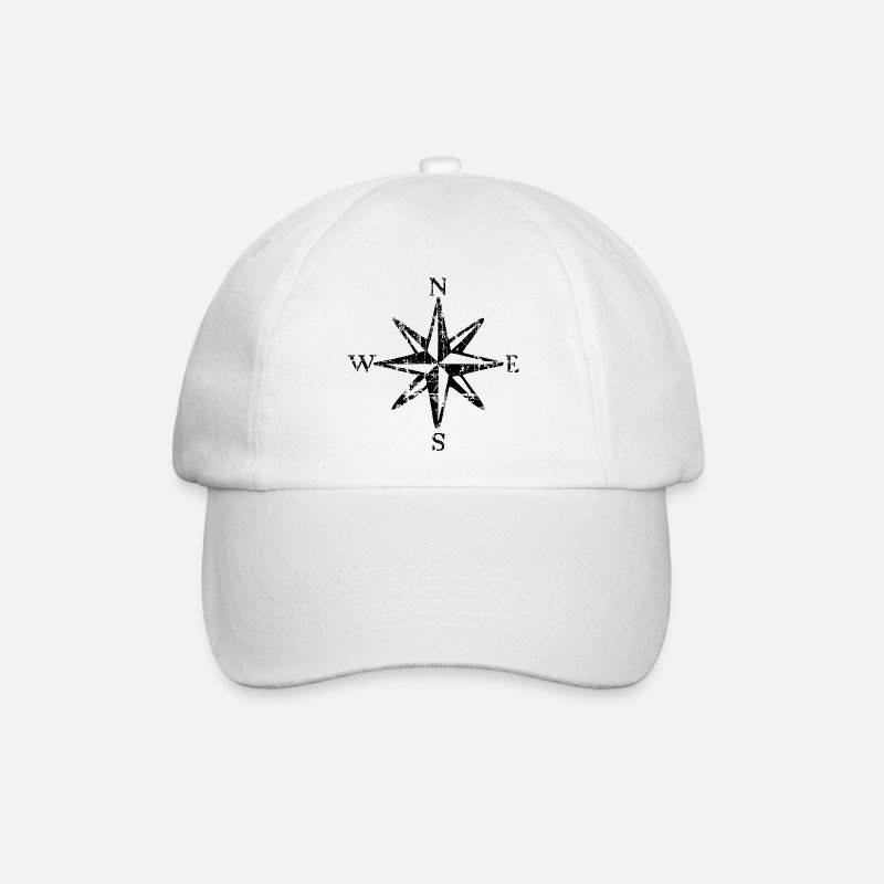 Boat Caps & Hats - Compass Rose Wind Rose Sail Sailing - Baseball Cap white/white