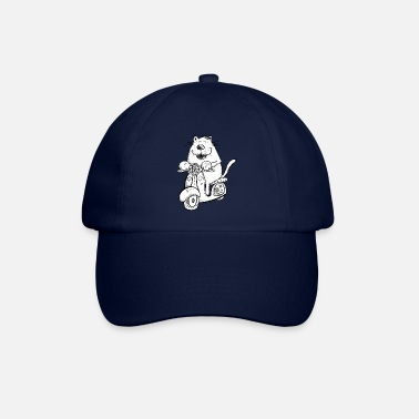 Funny Cat On Scooter Cartoon Fun Figure Gift - Baseball Cap