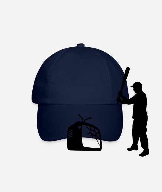 TV Caps & Hats - Destroy Your TV - Baseball bat vs. Television - Baseball Cap blue/blue