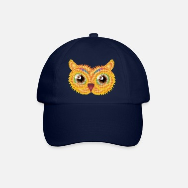Jewelry abstract owl head made of floral shapes - Baseball Cap