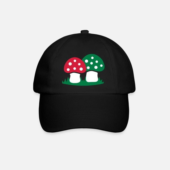 Toxic Caps & Hats - Toadstools in the grass - Baseball Cap black/black