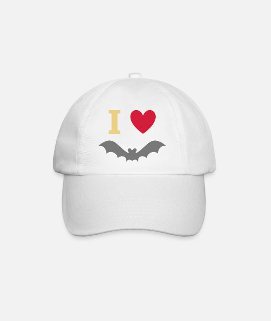 Heart Caps & Hats - I love bats - Baseball Cap white/white