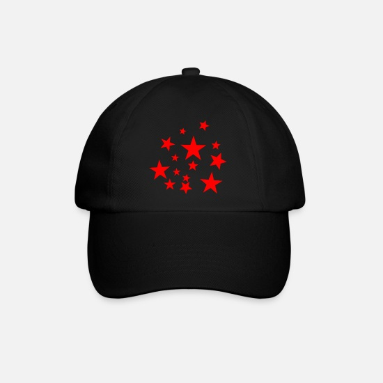 Red Caps & Hats - Red star, star, star, red, - Baseball Cap black/black