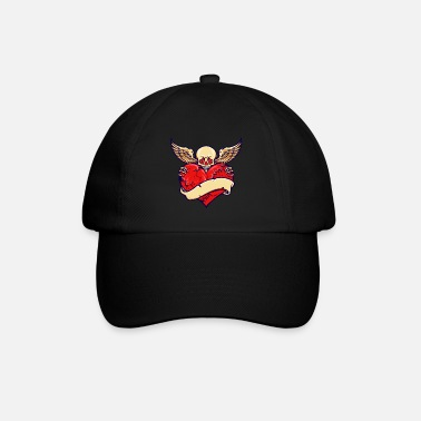 Broken Heart Valentines Day Broken Heart Skull Valentine skull with wings - Baseball Cap