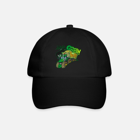 Tractor Caps & Hats - Think green border - Baseball Cap black/black