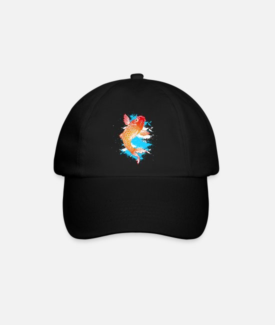 Koi Caps & Hats - Koi carp Japanese zodiac sign - Baseball Cap black/black