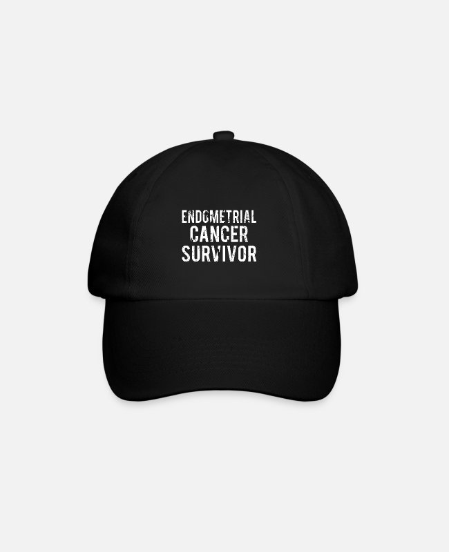 Ribbons Caps & Hats - Endometrial Cancer: Endometrial Cancer Survivor - Baseball Cap black/black