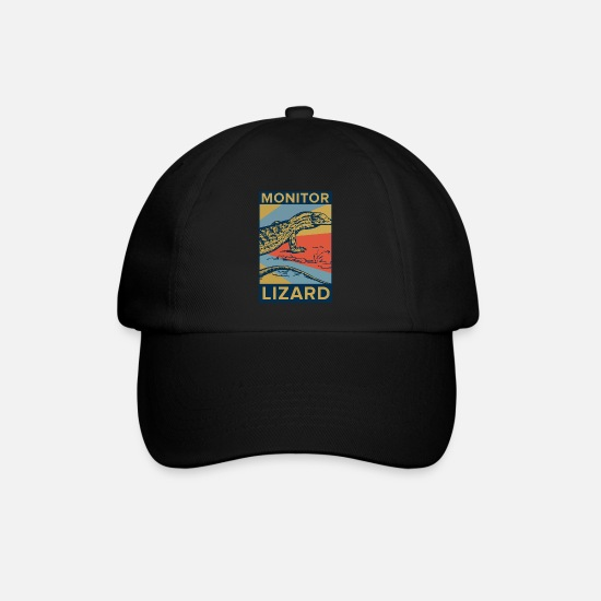 Crocodile Caps & Hats - Monitor Lizard rectangle color - gift idea - Baseball Cap black/black