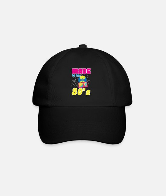 Party Caps & Hats - MADE IN THE 80's 80's 80's Eighties 80s Retro - Baseball Cap black/black