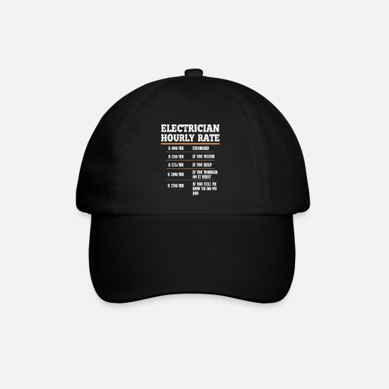 Gift Idea Caps & Hats - electrician electrical engineering master trainee apprentice - Baseball Cap black/black