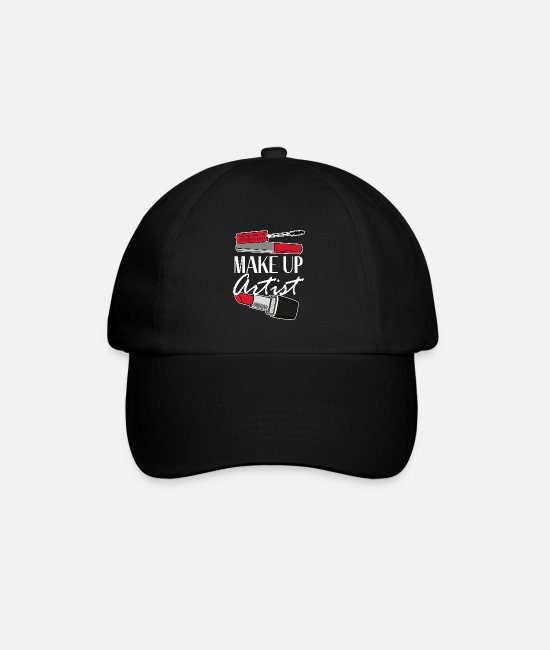 Beauty Caps & Hats - Makeup artist MUA lipstick beautician - Baseball Cap black/black