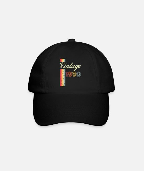 Hipster Caps & Hats - Classic Stylish Vintage 1990 Vibes Retro 30th Bday - Baseball Cap black/black