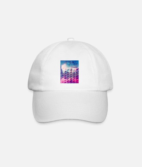 Dream Caps & Hats - Vaporwave Aesthetic It's All In Your Mind - Baseball Cap white/white