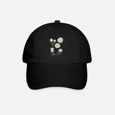 Ellenicoart White Roses - Watercolor - Baseball Cap