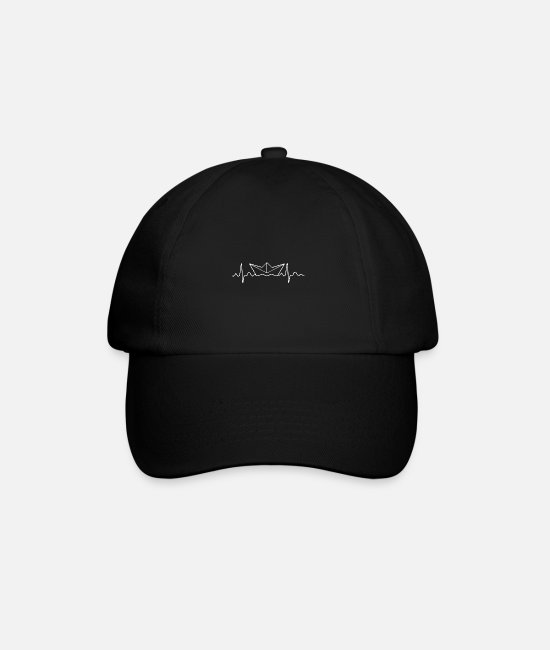 Love Caps & Hats - Heartbeat paper ship - Baseball Cap black/black