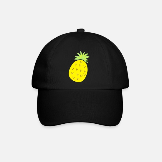 Banana Caps & Hats - tropical Juicy pineapple with spikes - Baseball Cap black/black