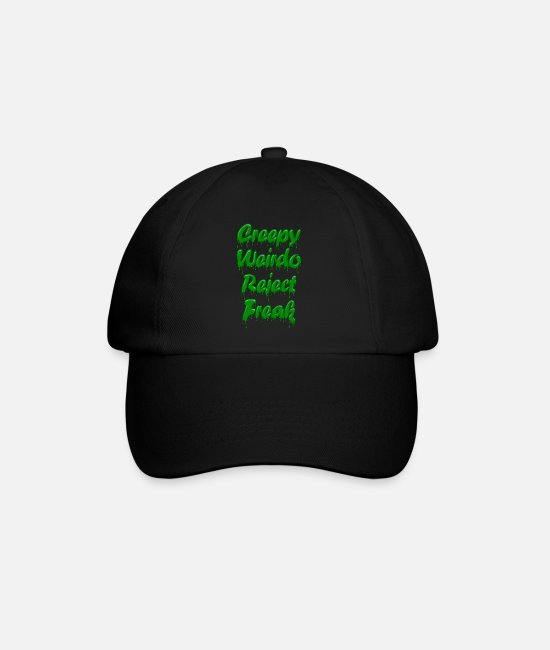 Weirdo Caps & Hats - Green Gloop Creepy Weirdo Reject Freak - Baseball Cap black/black