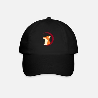 Fox in the red moon, gift - Baseball Cap