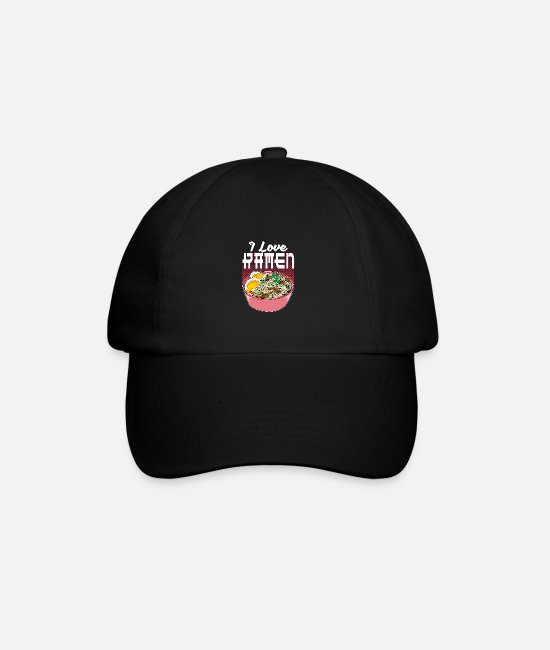 Soup Caps & Hats - I Really Love Ramen Kawaii Cat Kanji Animal - Baseball Cap black/black