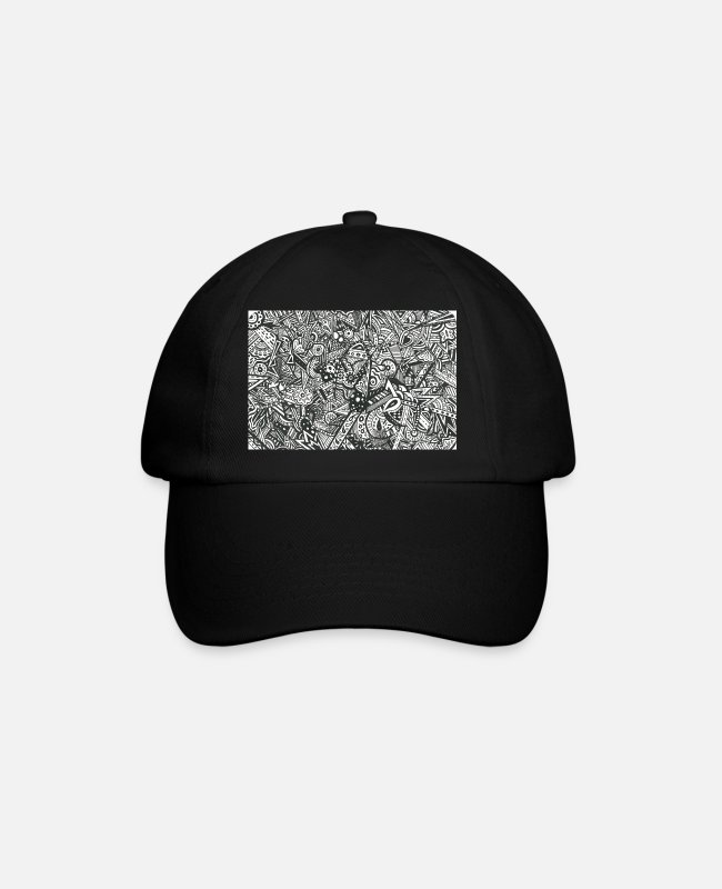 Letterboxing Caps & Mützen - Hidden black and white Zentangle lettering - Baseball Cap Schwarz/Schwarz