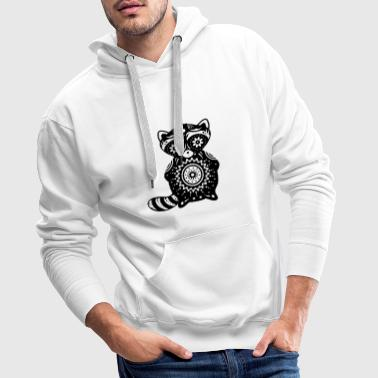 A raccoon in the style of Sugar Skulls - Men's Premium Hoodie