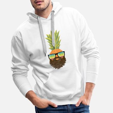 Tropical Pineapple Hipster With Beard And Sunglasses - Men's Premium Hoodie