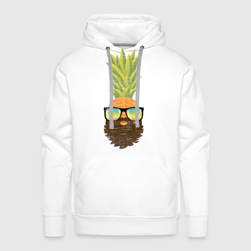Pineapple Hipster With Beard And Sunglasses - Men's Premium Hoodie