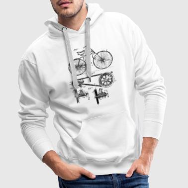 Fan Mile Retro vintage bicycle patent drawing gift - Men's Premium Hoodie